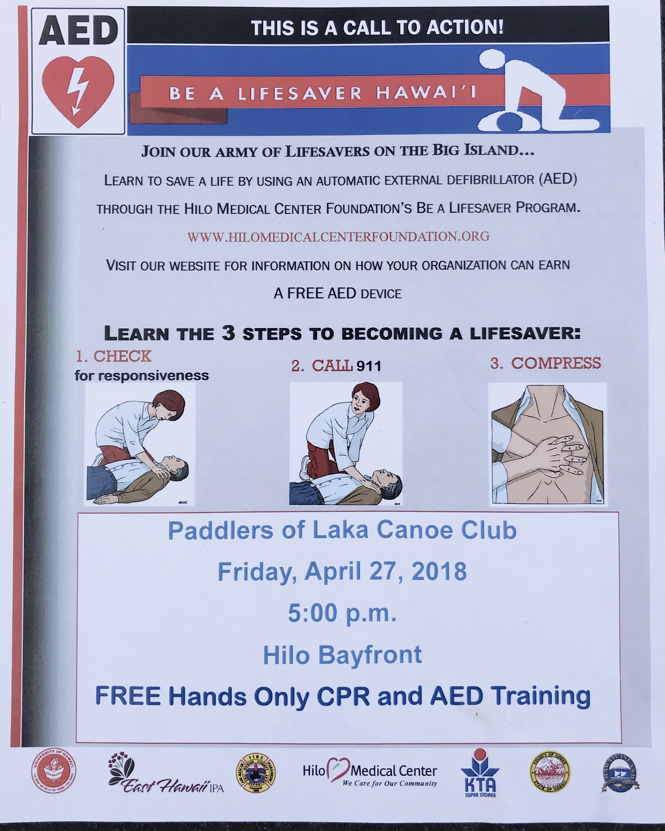 Free Hands On Cpr And Aed Training Puna Canoe Club